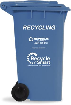 Blue can with RecycleSmart
