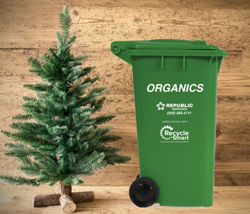 Christmas Tree and Green Organics Republic Services Cart
