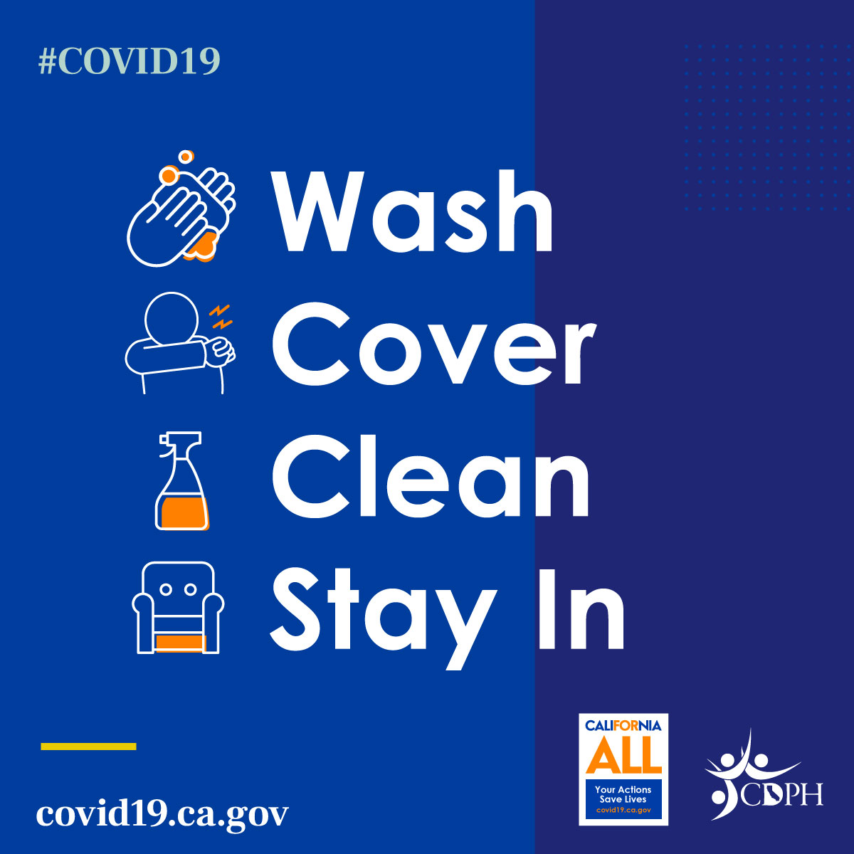 Wash, Cover, Clean, Stay In