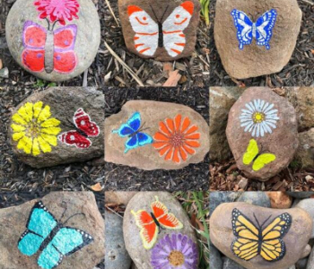 Rocks painted with colorful butterflies