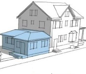 Schematic drawing of a home with a smaller house attached to it.