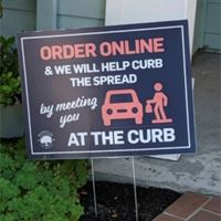 Lawn Sign showing Curbside Pick Up area